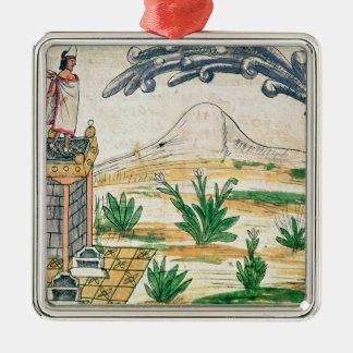 Montezuma II que mira un cometa, 1579 Adorno Navideño Cuadrado De Metal