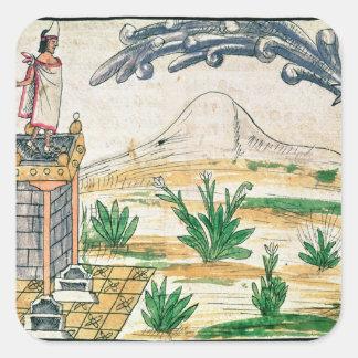 Montezuma II que mira un cometa, 1579 Pegatina Cuadrada