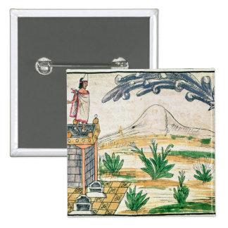 Montezuma II que mira un cometa, 1579 Pin Cuadrado