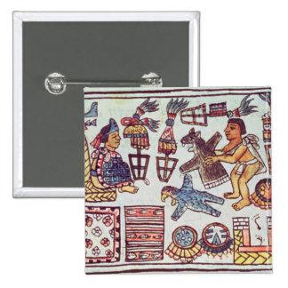 Montezuma II  receiving tributes 2 Inch Square Button