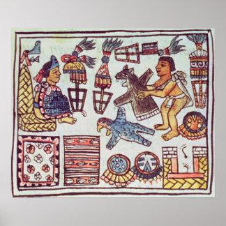 Montezuma II  receiving tributes Poster