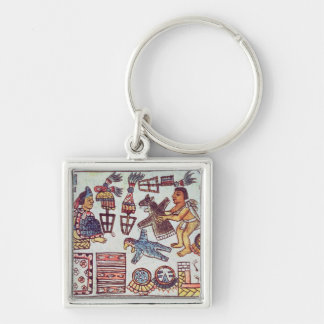 Montezuma II  receiving tributes Silver-Colored Square Keychain