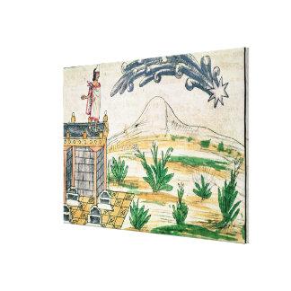 Montezuma II  watching a comet, 1579 Canvas Print