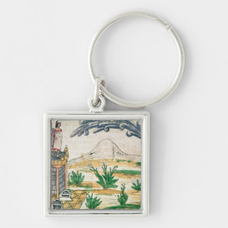 Montezuma II  watching a comet, 1579 Silver-Colored Square Keychain