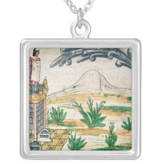 Montezuma II  watching a comet, 1579 Silver Plated Necklace