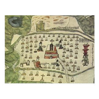 Montezuma's Aztec Empire, Antique World Map, 1577 Postcard