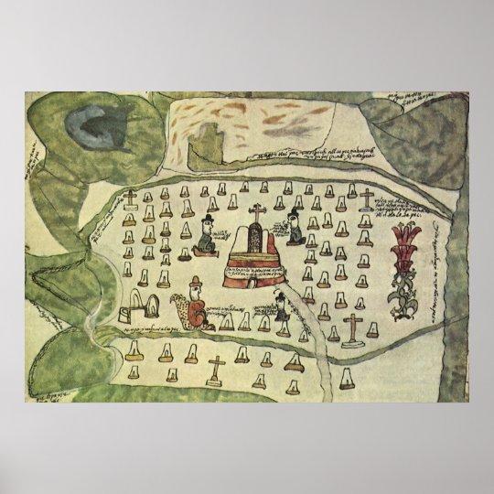 Montezuma's Aztec Empire, Antique World Map, 1577 Poster