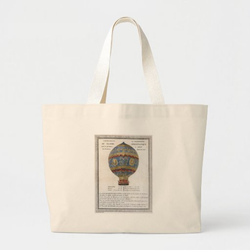 Montgolfier Brothers 1783 Hot Air Balloon Flight Large Tote Bag