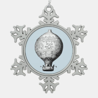 Montgolfier Vintage Hot Air Balloon on Pale Blue Snowflake Pewter Christmas Ornament