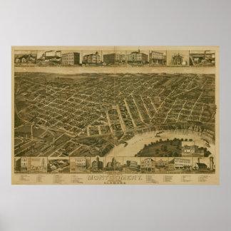 Montgomery Alabama 1887 Antique Panoramic Map Print