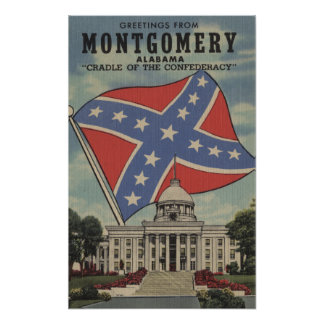 Montgomery, Alabama - Large Letter Scenes Poster