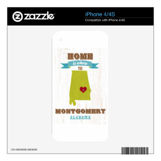 Montgomery, Alabama Map – Home Is Where The Heart Decal For iPhone 4