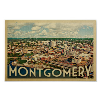 Montgomery Alabama Poster Vintage Travel