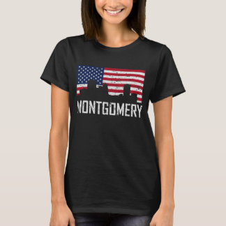 Montgomery Alabama Skyline American Flag Distresse T-Shirt