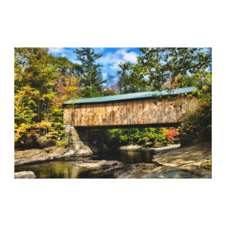 Montgomery Covered Bridge with fall foliage Stretched Canvas Print