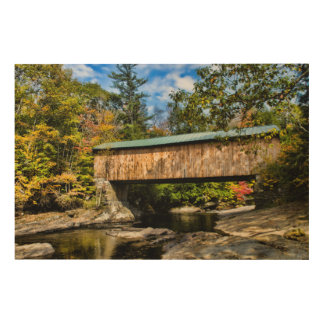 Montgomery Covered Bridge with fall foliage Wood Print