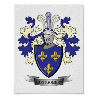 Montgomery Family Crest Coat of Arms Poster