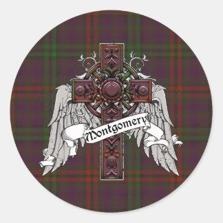Montgomery Tartan Cross Round Stickers