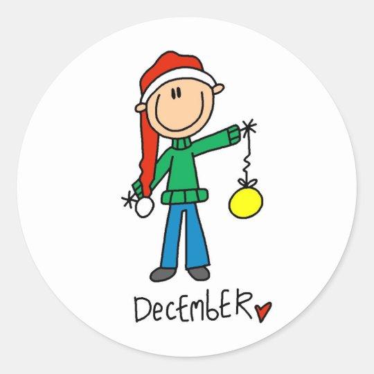 Month of December Classic Round Sticker