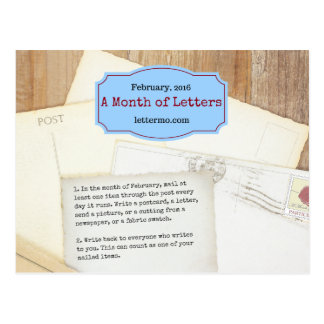 Month of Letters postcard