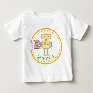 Monthly Baby Shirt 2 Months Yellow Robot Design