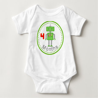 Monthly Baby Shirt 4 Months Green Robot Design