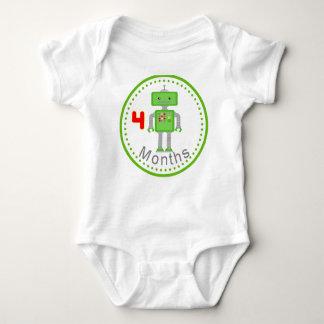 Monthly Baby Shirt 4 Months Green Robot Design