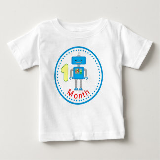 Monthly baby Shirt Blue Robot Design