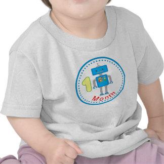 Monthly baby Shirt Blue Robot Design