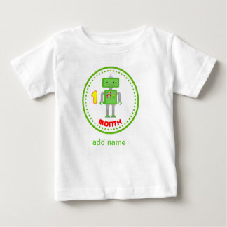 Monthly baby Shirt Green  Robot Design