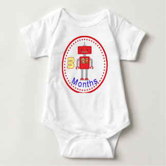 Monthly Baby T-Shirt 3 Months Red Robot Design