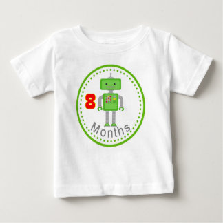 Monthly Baby T Shirt  8 Month Green Robot