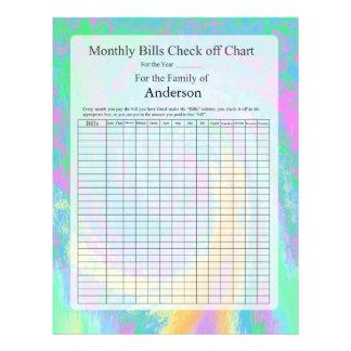 Monthly Bills Check off Chart Pastel Design Letterhead