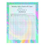 Monthly Bills Check off Chart Pastel Design Letterhead