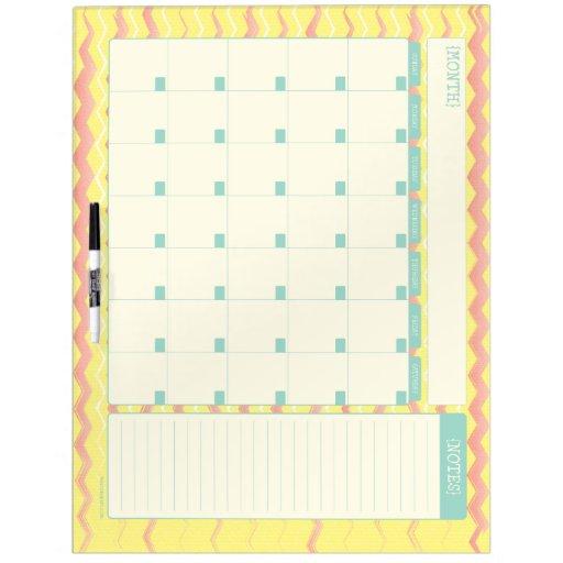 Monthly Calendar Board : Monthly calendar dry erase board chevron zazzle