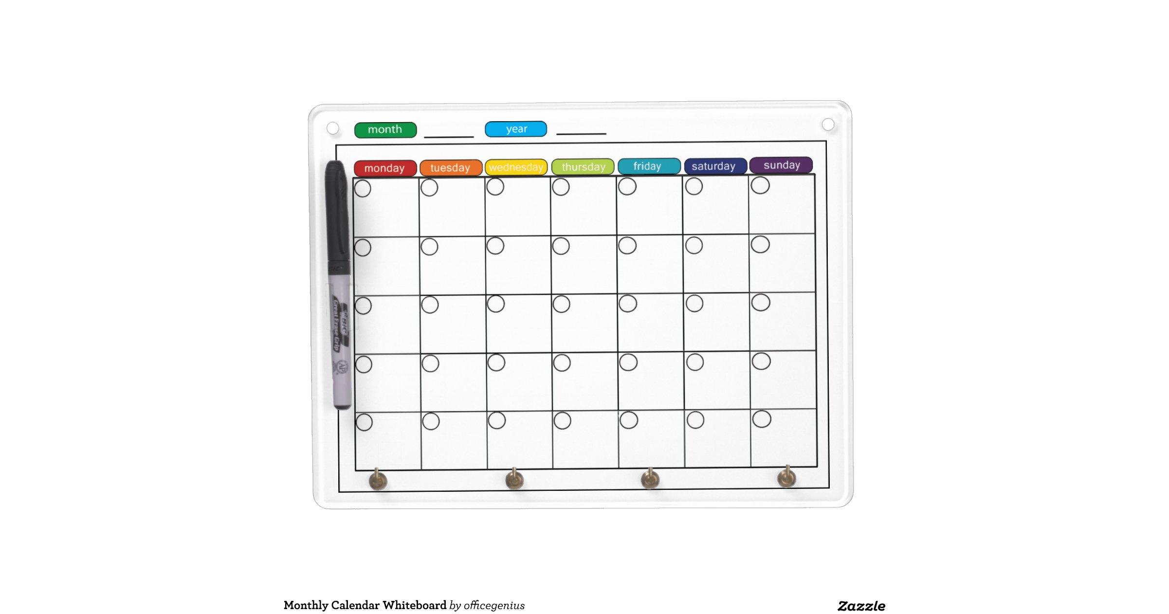 Dry Erase Weekly Calendar Board : Monthly calendar whiteboard dry erase boards zazzle