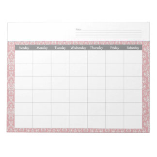 Monthly Coral Damask Calendar Planner Notepad