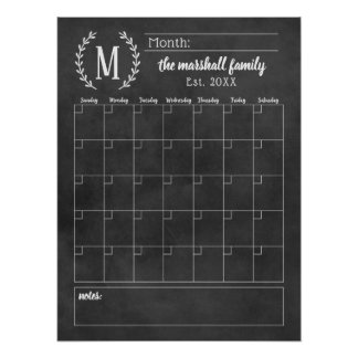 Monthly Family Calendar | Chalkboard Monogram Poster