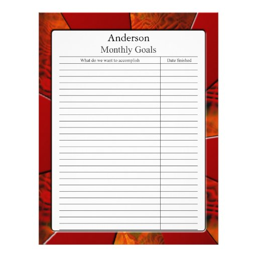 Monthly Goal Page Letterhead Design