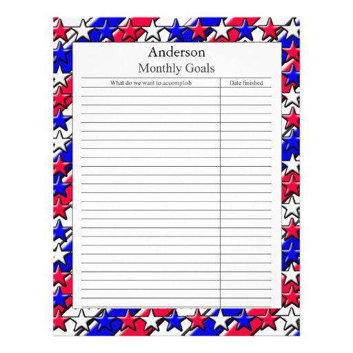 Monthly Goal Page - Red, White, and Blue Customized Letterhead