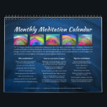 """Monthly Meditation Wall Calendar<br><div class=""""desc"""">Meditative practices can improve health,  stress,  mood,  brain function,  and psychic abilities. Use the laboratory-created images in this calendar each month for meditative focus or contemplation.</div>"""