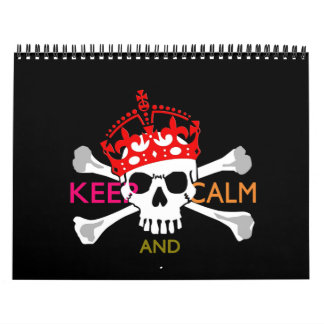 Monthly Personalized KEEP CALM AND Your Text Skull Calendar