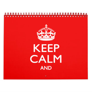 Monthly Personalized KEEP CALM Red Your Text 2017 Calendar