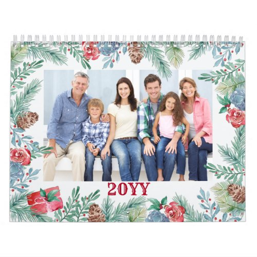 Monthly Photo and Lined Notes Panel Winter Foliage Calendar