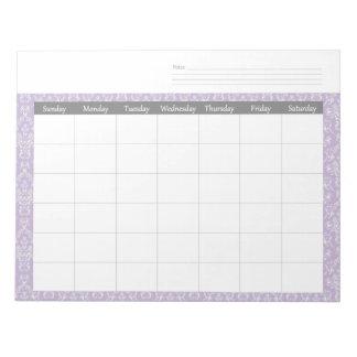 Monthly Purple Damask Calendar Planner Notepad