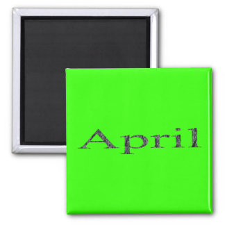 Months of the Year - April 2 Inch Square Magnet