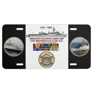 MONTICELLO DE USS (LSD-35) PLACA DE MATRÍCULA