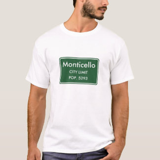 Monticello Indiana City Limit Sign T-Shirt
