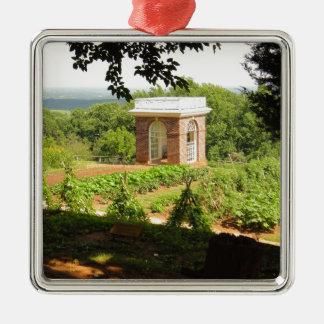Monticello View Square Metal Christmas Ornament