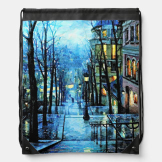Montmartre at Night Drawstring Bag